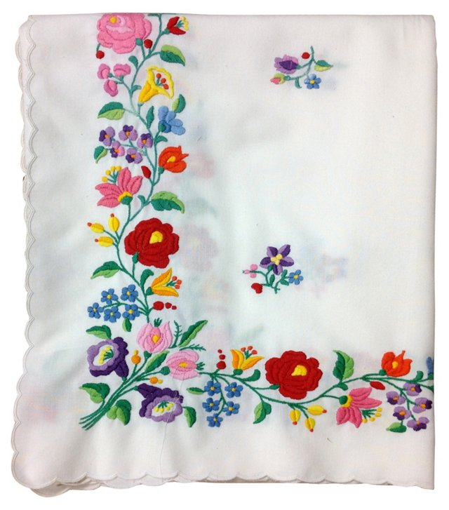 Floral Embroidered Tablecloth