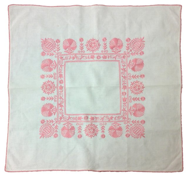 Pink Embroidered Tablecloth