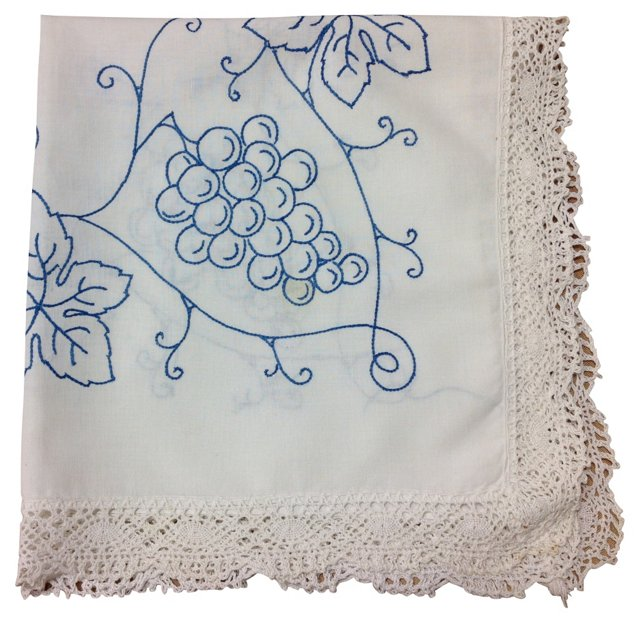 Blue-Embroidered  Tablecloth