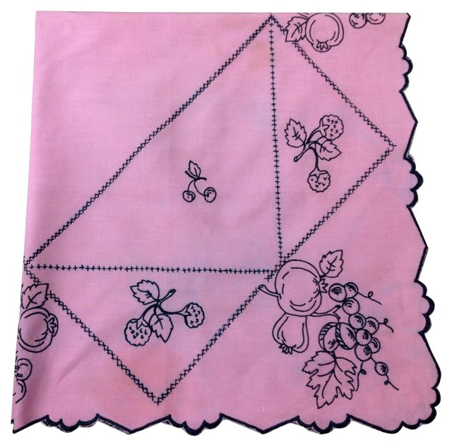 Tablecloth w/ Black Embroidery