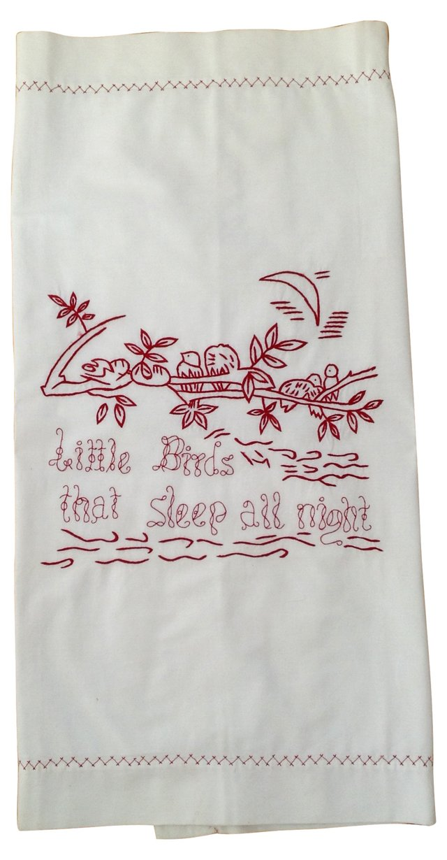 Pillow Layover w/ Red Embroidery