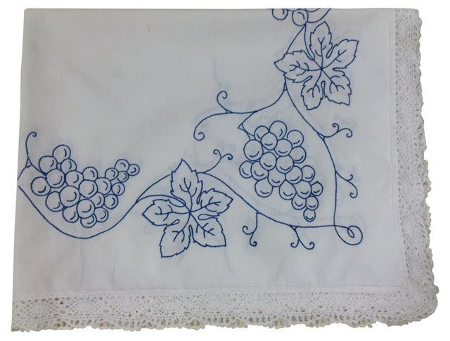 Blue Grapes Wine Harvest Tablecloth