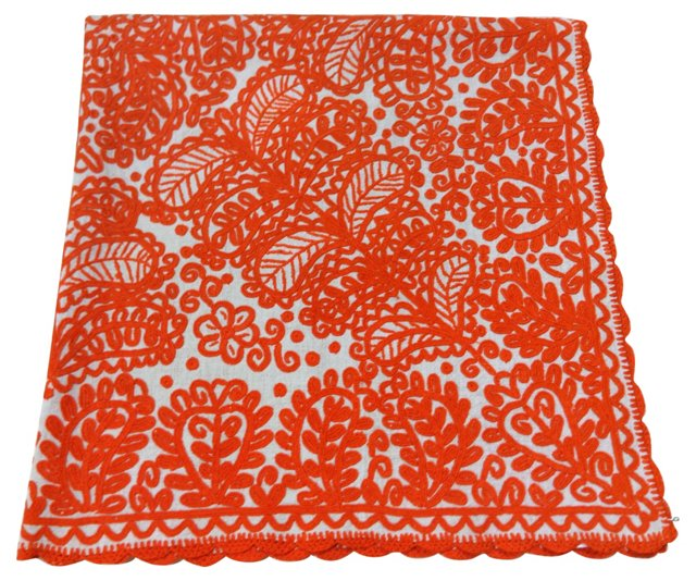 Soft Orange-Embroidered Bedcover