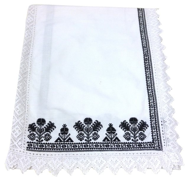 Black Embroidered Linen Blanket Cover