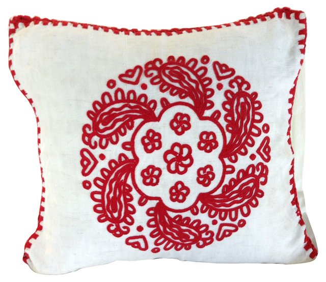 Hungarian Redwork Erdely-Style Sham