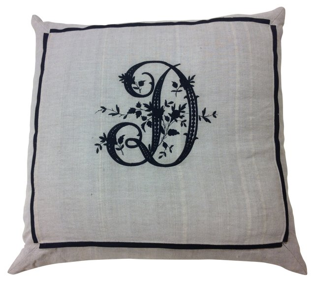 Linen Sham w/ D  Monogram