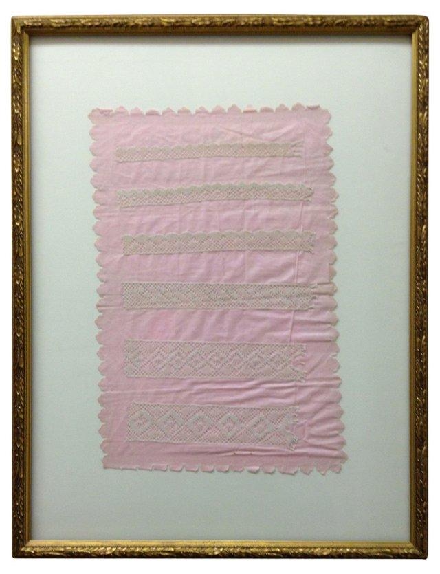 Beige Lace Sampler on Pink