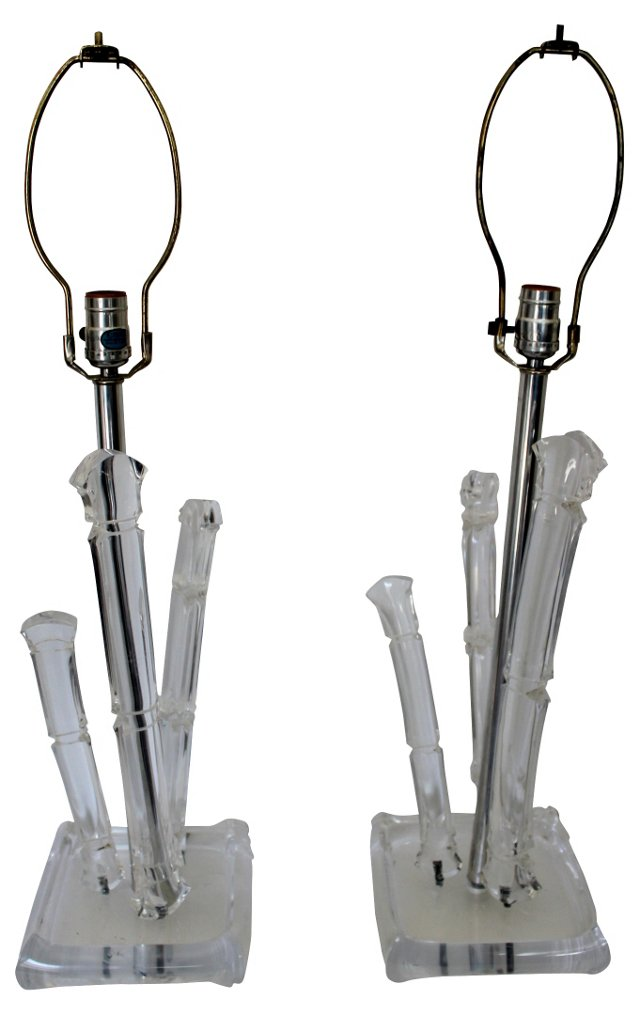 Bamboo-Style Lucite Lamps, Pair