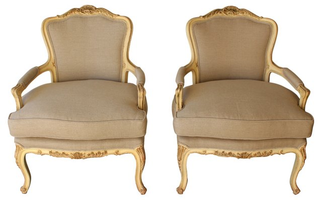 1940s French Fauteuils, Pair