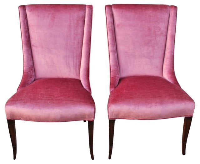1960s Velvet Side Chairs, Pair