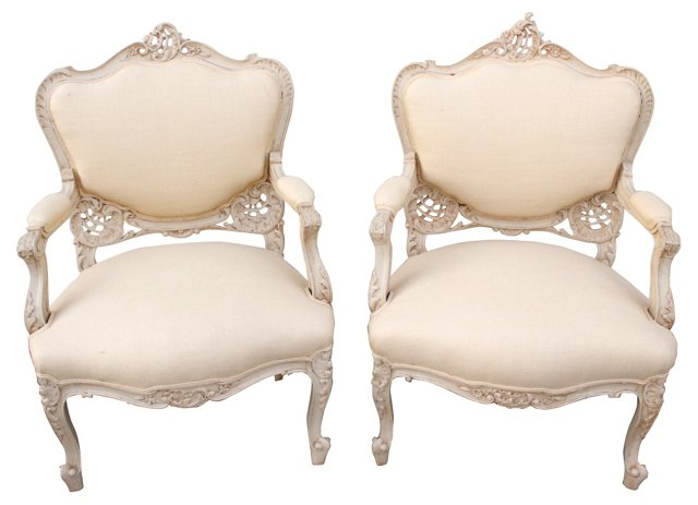 French Louis XV-Style  Fauteuils, Pair