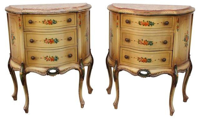 Italian Painted Nightstands, Pair