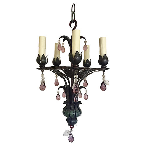 1930s French Iron & Crystal Chandelier