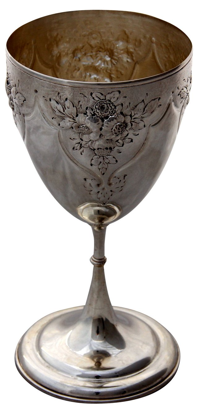 English Embossed Goblet, C. 1870