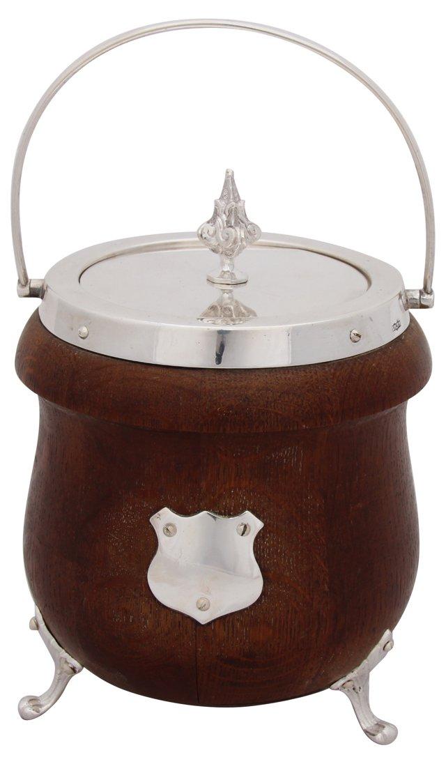 Wood & Silver Biscuit Barrel, C. 1880