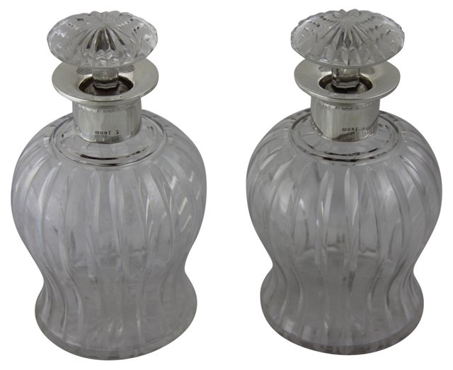 English Sterling & Glass Decanters, Pair