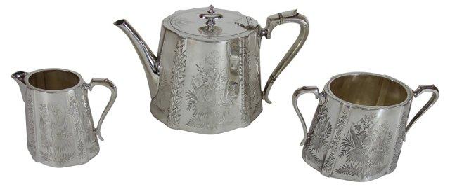 Engraved English Tea Set, C. 1865, 3 Pcs