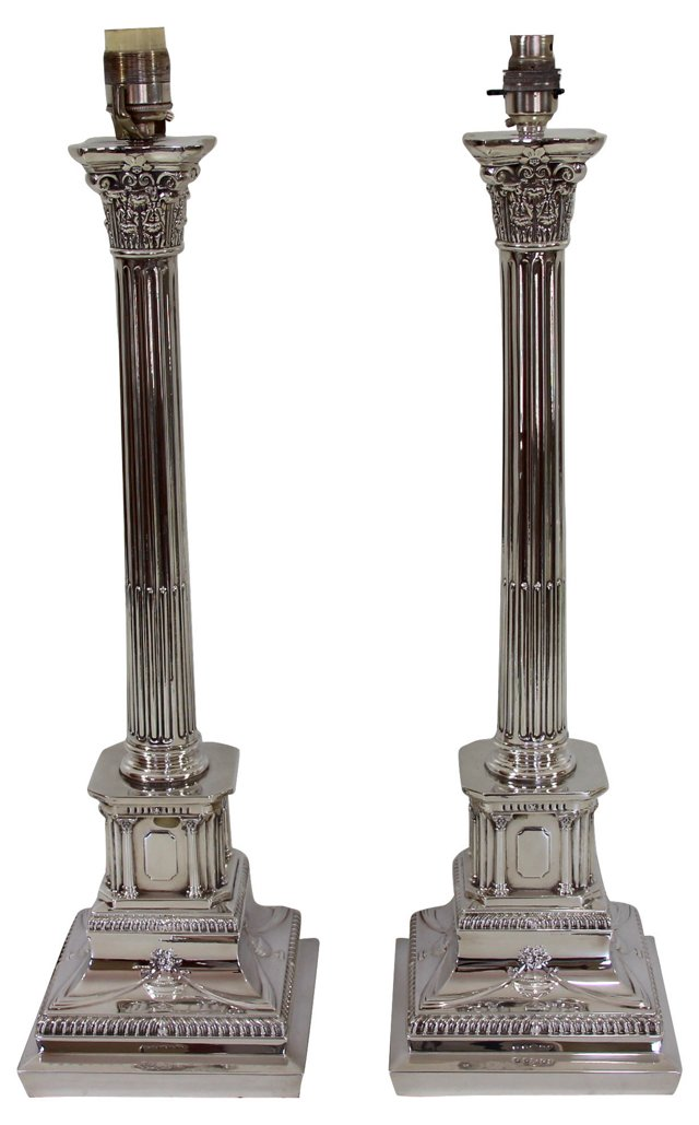 1980s English Silverplate Lamps, Pair