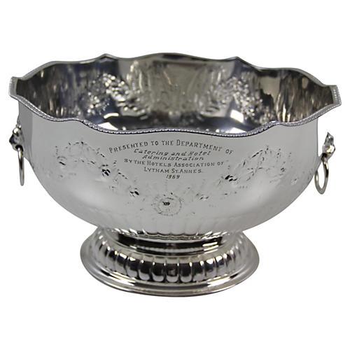 English Embossed Punch Bowl, C. 1960