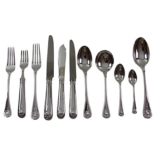 English Thread & Shell Flatware, 11 Pcs