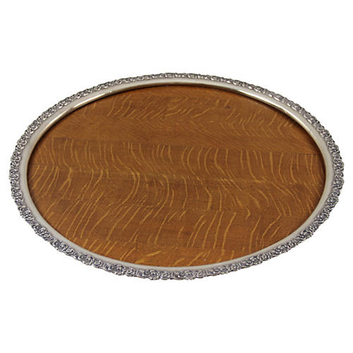 Sterling Silver & Wood Tray, C. 1890