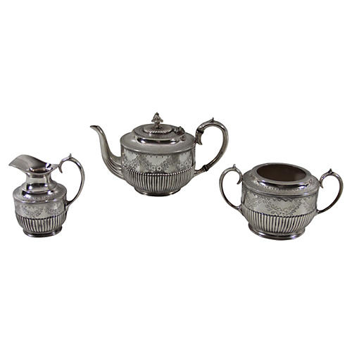 English Tea Set, 3-Pcs, C.1860