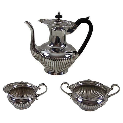 English Fluted Coffee Set, C.1870