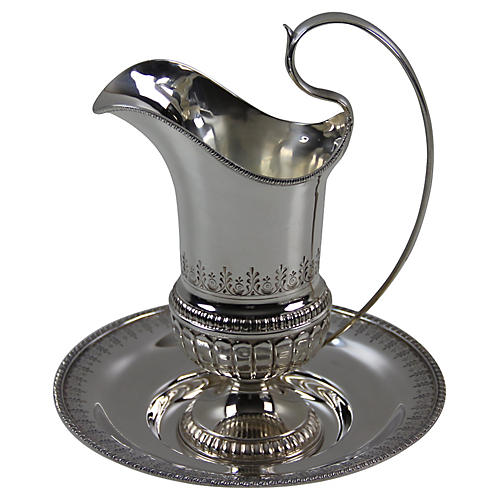 Water Pitcher & Base Silver Plate C.1980