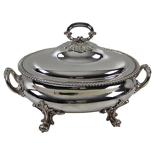 Oval Silver-Plate Soup Tureen, C.1850