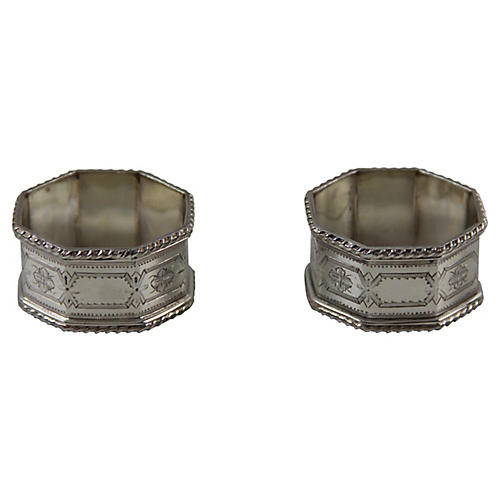 Octagonal Napkin Rings, Pair