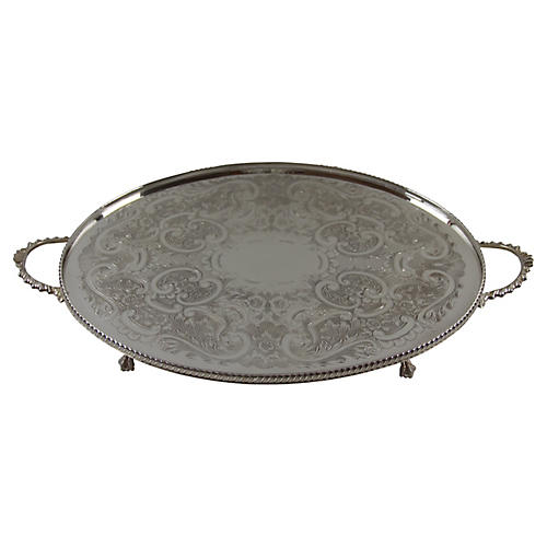 Two-Handle Engraved English Tray, C.1950