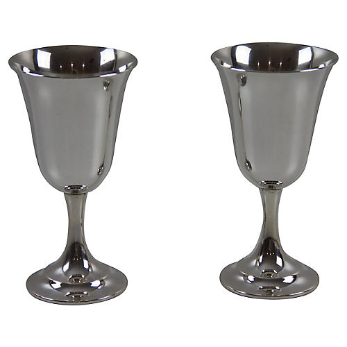 Sterling Silver Goblets, Pair
