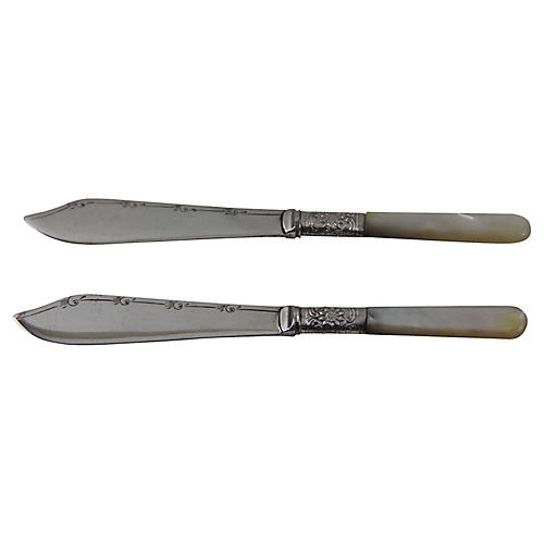 English Silver-Plate Spreaders, Pair