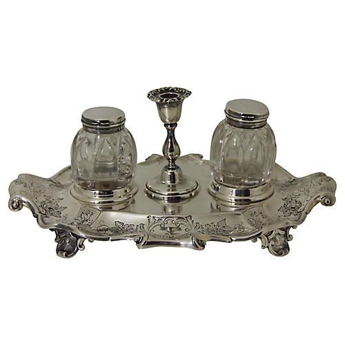 Antique SP Inkstand,c.1870 English