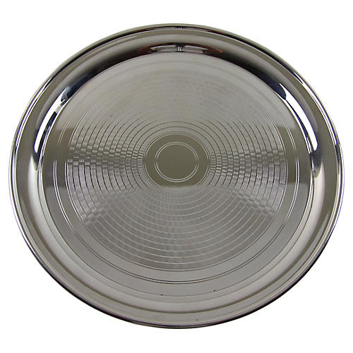 Engine Turned Silver-plate Salver