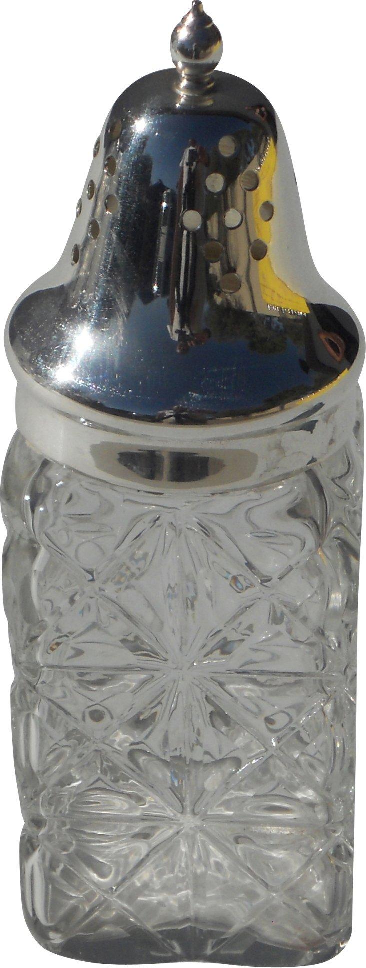 English Glass Sugar Shaker, C. 1890