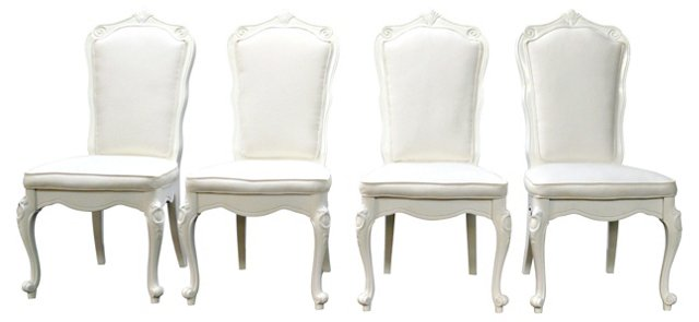 White Upholstered Dining Chairs, S/4