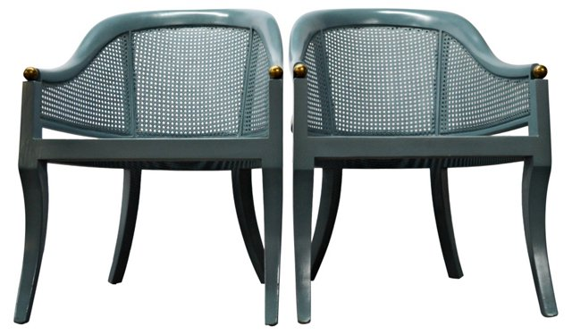 Barrel Chairs w/ Caning, Pair