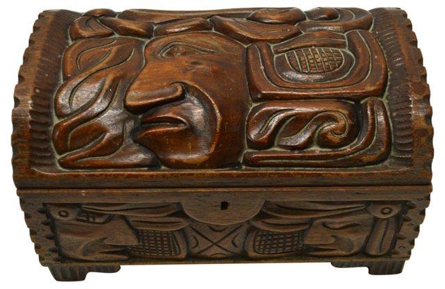 Wood Carved Cigar Box