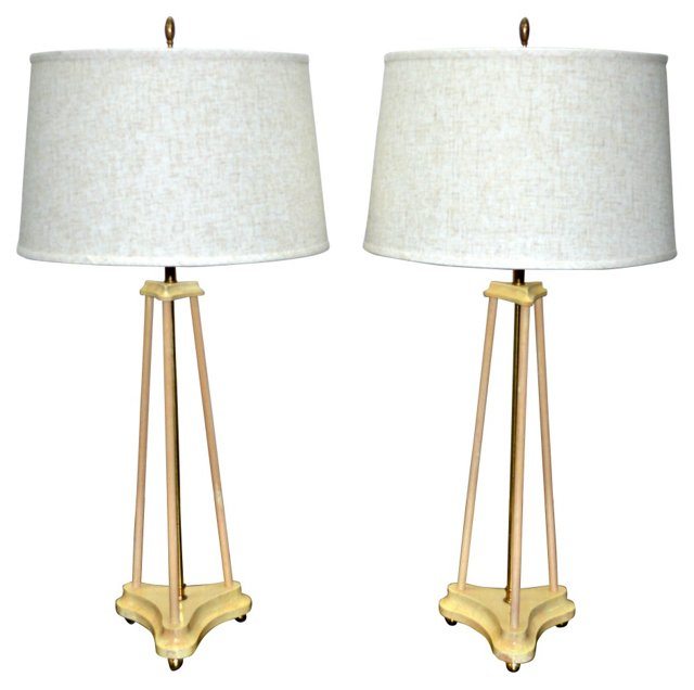 1970s Lacquered Lamps, Pair