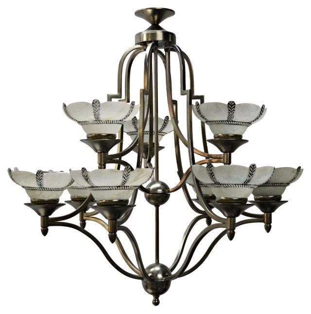 9-Light Art Deco-Style Chandelier