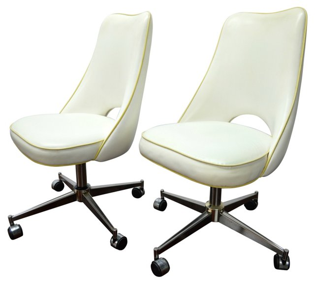 1970s Swivel Chairs w/ Casters, Pair