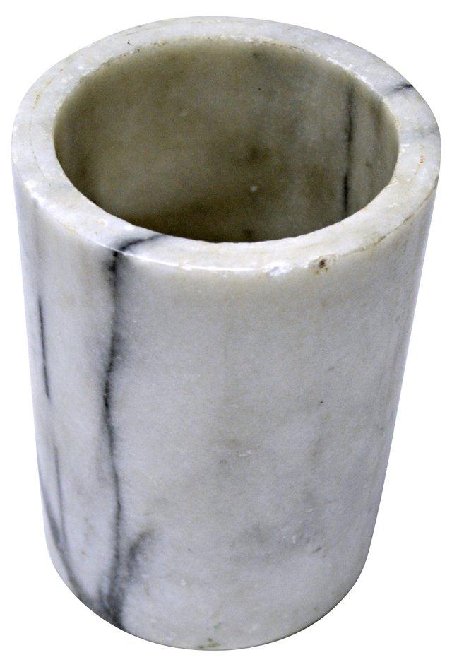White Marble Cylindrical Vase