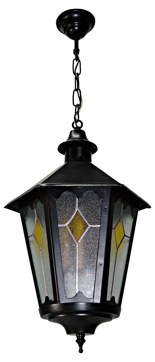 Hexagonal Lantern w/ Leaded Glass