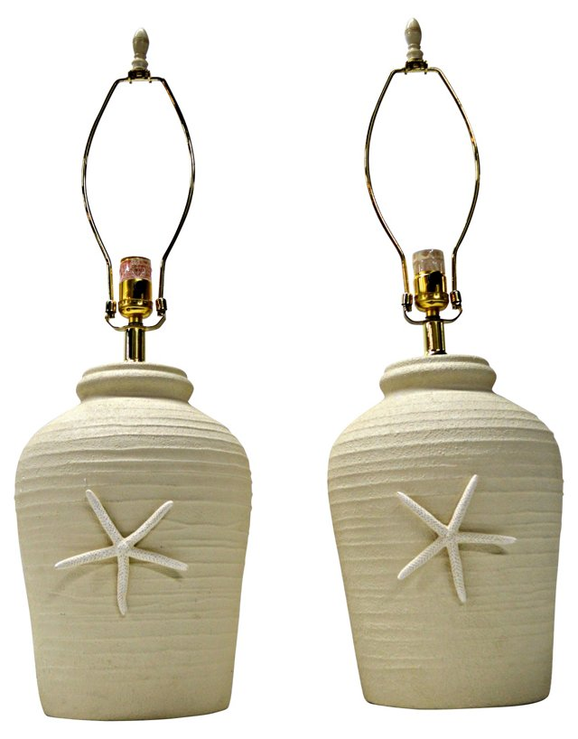 Starfish Table Lamps,   Pair