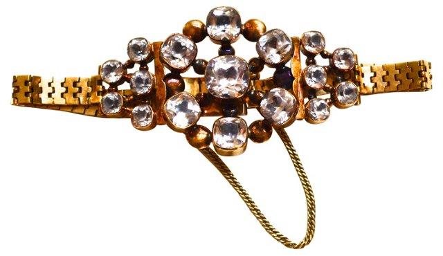 Edwardian 14K & Rhinestone Bracelet