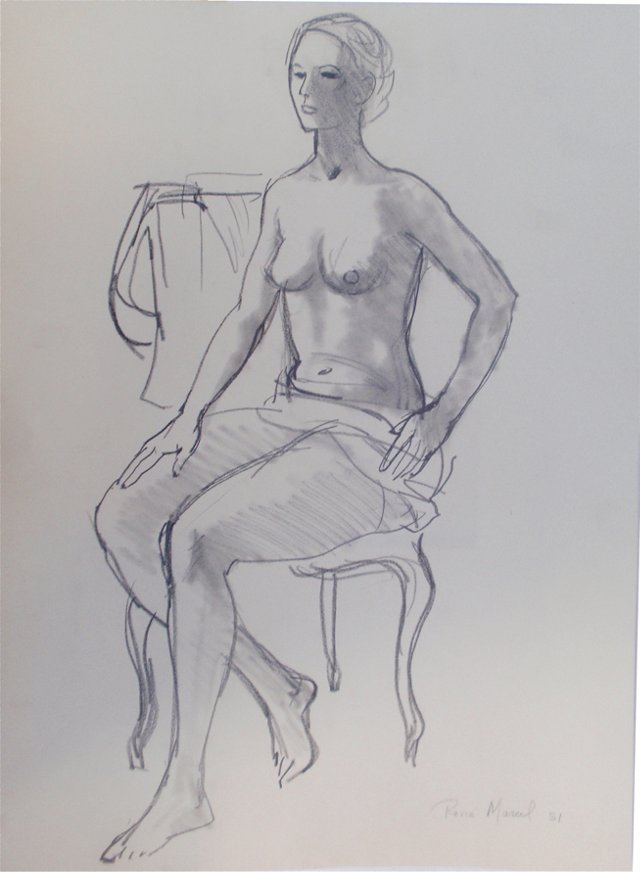 Seated Nude by Rene Marcil