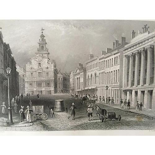 19th-C. State Street Boston Engraving