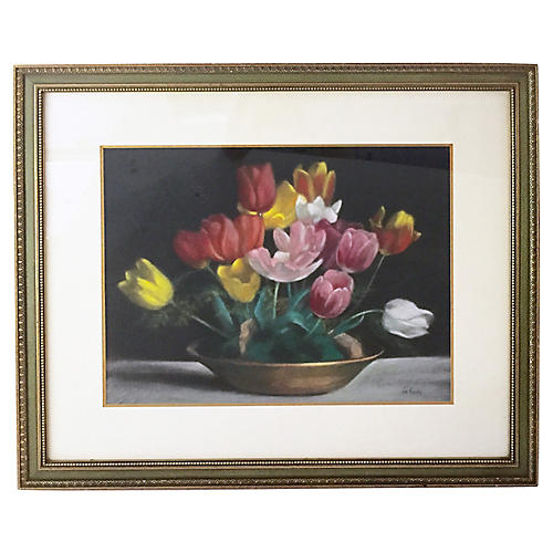 Pastel Still Life of Tulips