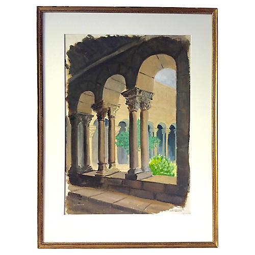 Watercolor Architectural Columns